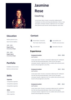 Free Coaching CV Resume Template with Simple Design