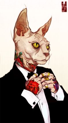 Art by Zarnala #zarnaia #tattooed #cat