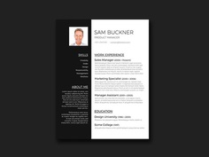 Free Elegant Black and White Resume in Word Format