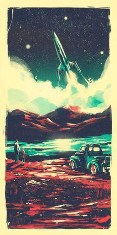Interstellar-final #space #rocket #illustration #vintage