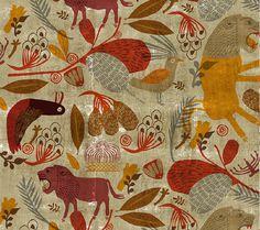 pattern_all pattern copy_700_800 #pattern #lion #bird #illustration #animals #jungle