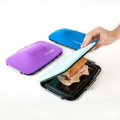 This flexible silicone lunchbox molds perfectly around your food. No more fallen-apart sandwiches.
