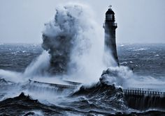 Miss M's #sea #wave #water #storm #beauty #lighthouse #foam