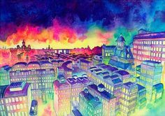 Town where the sky is dark by ~matabi on deviantART #illustration #color #water