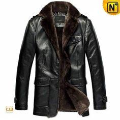 Black Sheepskin Coat for Men CW833337 - cwmalls.com #sheepskin #coat