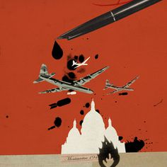 Emmanuel Polanco / Los Angeles Times, Time Magazine, CSO Magazine / colagene.com #ink #politic #crash #war #plane #fire #pen #bomb