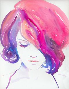 Print of a Watercolor Fashion Illustration. Titled Rosa #illustration #watercolor