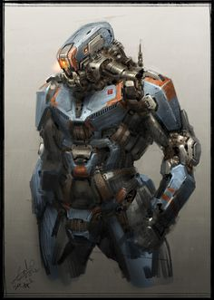 Robot Concept Art by Galan Pang #robot #fi #sci #space #mechanical #concept #art #mech