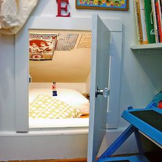 A low ceiling crawl space transformed into a secret hideaway in a kid's room