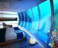 Underwater sea themed hotel room #ocean #bedroom #aquarium #sea #hotel #blue #underwater #room