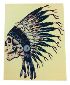 Dead Indian Screen Print #icon #india #print #death #american #feather #logo #screen #printing #indian #handmade #poster #dead #skull #bones #hand #native