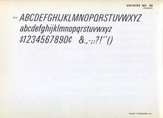 Univers 48 type specimen