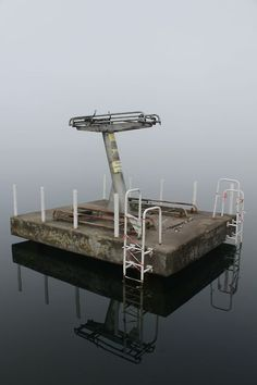 Derelict diving board in a former communist youth camp. Werbellinsee , Germany. #abandone #board #diving #destroyed
