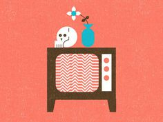 Skull,TV, Flower #mikey #burton