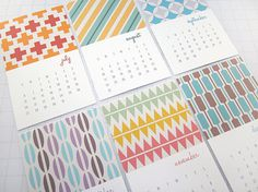 Modern Patterns Series III Mini 2015 Calendar by monkeymindesign