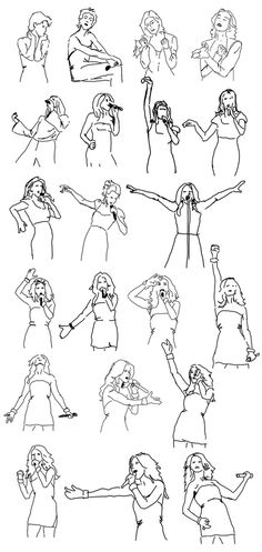 Celine Dion pose sketches collection