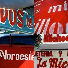 redblue.jpg (JPEG Image, 400x400 pixels) #typography #hand #mexican #signs #painted