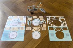 Description #fold #model #bicycle #invitation #print #stationery #paper