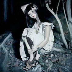 Art by Joanne Nam #girl #woods #illustration #painting #moonlight #art #forest #leaves
