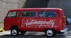 Automagically #bus #lettering #script #volkswagen #van #san #automagically #sf #brush #francisco