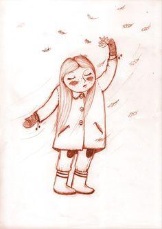 fall #autumn #illustration #drawing #girl