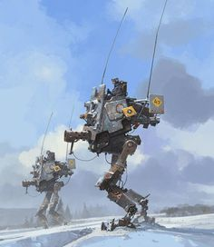 Concept Art by Ian McQue #robot #fi #snow #sci #droid #concept #art #mech #walker #winter