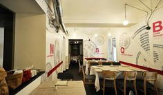 Pizzeria with artistic wall decoration #artistic #pizzeria #decor #restaurant #art #pizza #decoration