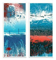 Vertical Landscapes (Set of two) #landscape #screen #print #illustration