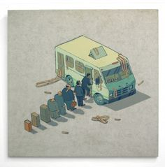 Smithe #queue #animation #van #illustration #deconstructed