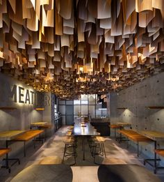 Shade Burger YOD studio interior design mindsparkle magconcrete wall ceiling hanging wood industrial modern typography sign type design mi