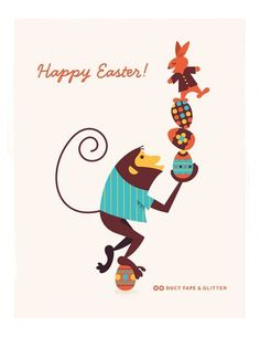 Blog | Duct Tape and Glitter #egg #easter #monkey #illustration #mid #century #modernism #rabbit