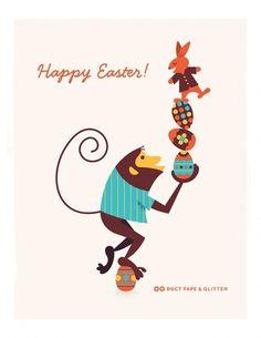 Blog | Duct Tape and Glitter #egg #easter #monkey #illustration #mid #century #modernism #rabbit