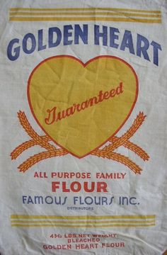 Vintage Flour Sack Golden Heart Flour Bold by LilacsAndLaughter #reference #wedding