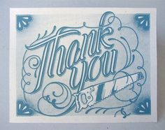 Adam Smith - Thank You cards #illustration #type #blue #calligraphy #screen print #card #thank you #adam smith