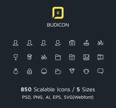 Budicon, 850 Scalable Vector Line Icons #icon #ux #lines #ui