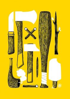 Mr. spray goes empty exhibition 2011 on the Behance Network #hatchet #wood #stools