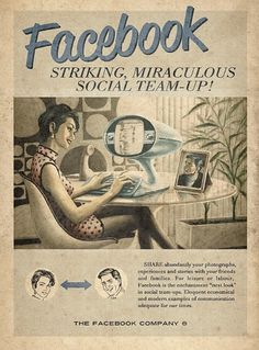 Retro Future Ads For Facebook, YouTube & Skype #facebook #illustration #retro