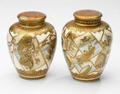Two small Satsuma Chaire, with figural scenes in superimposed Kartouchen #porcelain