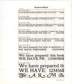 Bookman type specimen