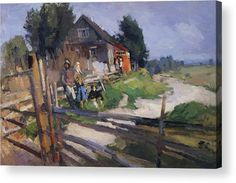 Landscape Acrylic Print featuring the painting Landscape With Fence 1919 by Korovin Konstantin
