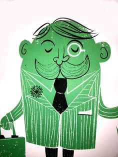The Fancy Man on Behance #green #gentleman #screen print #fancy #illustration