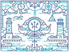 Explorer_dribble #ocean #psiodon #line #house #whale #pitchfork #illustration #sea #compass #light