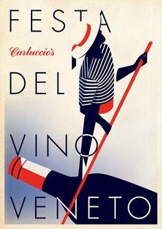 Poster design to celebrate Carluccio\\\'s Venetian wine promotion. In collaboration with Malika Favre.