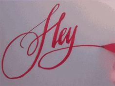 Hey! GIF #calligraphy #script #brushpen #red