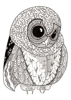 Art Print #illustration #drawing #owl #blackwhite