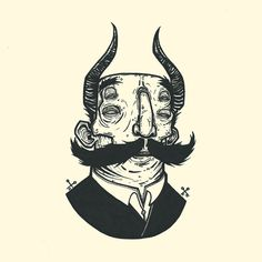 Simon Schacht #ink #humour #devil #illustration #horns #face #drawing #sketch