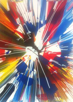 Damien Hirst, Painting, Beautiful Exploding Spinning Spiral Painting #exploding #spinning #spiral #colors #hirst #painting #damien