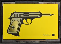 Illustration, AIGA, gun, 9mm, pistol, hand gun, handgun, yellow, gray, pencil, lead, #2, billboard, ad, advertisement, outdoors, minimal, fl