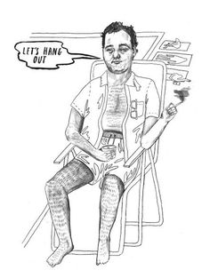 Bill Murray colouring book #white #level #next #black #illustration #and