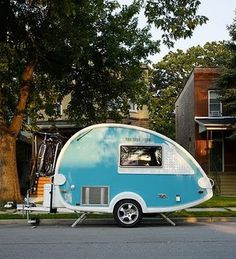 Want this. #blue #camping #vintage #sidecar